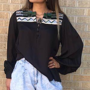 Anthropologie Esha buttondown bishop sleeve blouse
